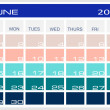 Calendar June 2014 — Vettoriali Stock