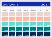 Kalender januari 2014 — Stockvektor