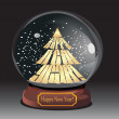 Snow globe with christmas tree — Stock Vector