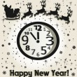 Stock Vector: New year card. Christmas clock and SantClaus driving in sledge