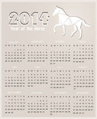 Calendario para el año 2014. caballo de origami. Feliz año nuevo 2014! año del caballo. — Vector de stock