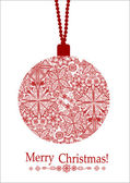 Greeting card with christmas ball — Stock Vector
