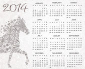Calendar for the year 2014. Origami horse. Happy new year 2014! Year of horse. — Stock Vector