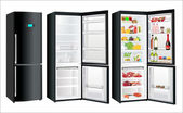 The empty white refrigerator and full with some kinds of food - vegetables, meat, fish — Vector de stock