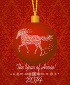 New Year's ball with a horse. Happy new year 2014! Year of horse. — Stock Vector
