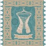 Vintage corset. Postcard. — Stock Vector #33592195