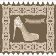 Postcard from the retro-style shoe — Stock Vector