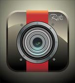 ビンテージ写真カメラ アイコン — ストックベクタ