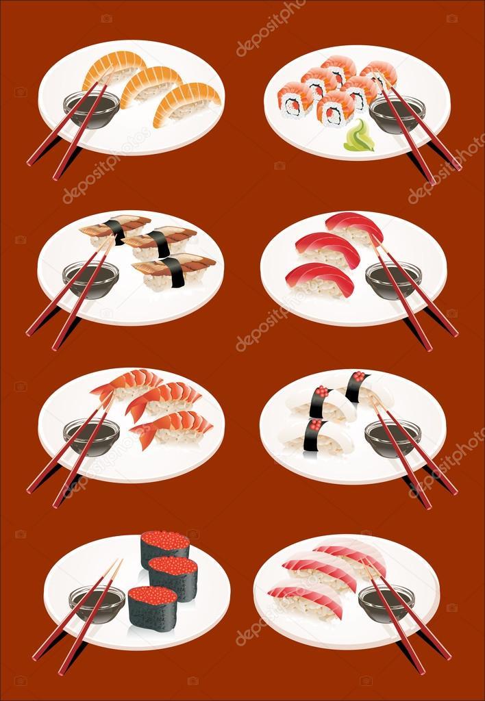 寿司集合 — 矢量图片作者 mitay20