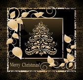 Stylized Christmas tree on decorative vintage damask background — Stock Vector