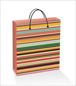 Striped gift bag isolated — Stockvektor