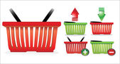 Online Internet Store Shopping Carts. Colorful shopping basket with signs. — Stockvektor