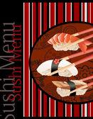 Sushi menu. Card Design template. — Stock Vector