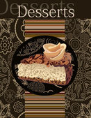 Desserts menu. Card Design template. — Stock Vector