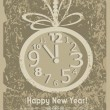 Vintage New year card. Christmas ball with clock and snowflakes — Stock Vector