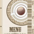 Menu with cup of coffee and grains for coffeehouse, restaurant, cafe, bar — Vettoriale Stock