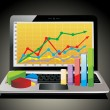 Laptop showing spreadsheet with some 3d charts over it — Vector de stock #38611923