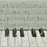 Grunge musical background - piano keys, sheet music - vintage design. Grunge background — Stock Vector