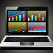 Laptop showing spreadsheet with some charts — Vector de stock #38614953