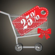 Stock Vector: Shopping cart and red twenty five percentage discount