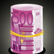 Stock Vector: 500 thousand Euro rolled up