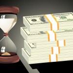 Time is money. Hourglass on hundred-dollar bills — Stock Vector