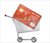 Credit card with Shopping Cart — Stock Vector