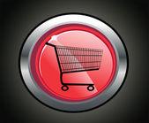 Icono de web de compras brillante círculo rojo carro — Vector de stock