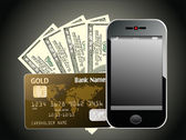 Modern mobile phone with hundred dollar bills and credit card — Stockvector