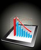 Počítač tablet zobrazuje tabulku s některé 3d grafy nad ním — Stock vektor