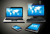 Mobile phone, tablet pc, notebook and computer. World map — Stok Vektör