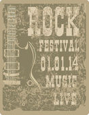 Billboard Rock Festival with an electric guitar — Stock Vector