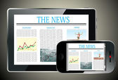 Concept with Business Newspaper on screen Tablet PC and Smartphone — Wektor stockowy