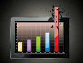 Realistic tablet pc computer profit concept — Stock Vector