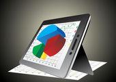 Computer tablet zeigt eine tabelle mit einigen 3d-diagramme drüber — Stockvektor