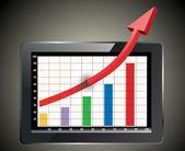 Profit concept, red arrow shows business growth chart — Cтоковый вектор