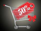 Carrito de la compra y rojo 50 porcentaje de descuento — Vector de stock