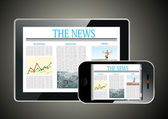 Concept with Business Newspaper on screen Tablet PC and Smartphone — 图库矢量图片