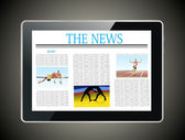 Sport news on generic Tablet PC. — Stock vektor