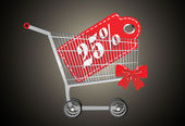 Shopping cart and red twenty five percentage discount — Stockvektor