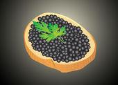 Black caviar served on bread — Stock Vector