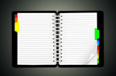 Open personal organizer — Stock Vector