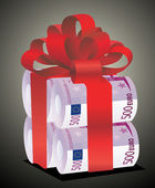 Rolls of money wrapped in red bow and ribbon — Stock Vector