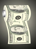 A toilet paper roll of hundred dollar bills on a dispenser, symbolizing the careless spending of money — 图库矢量图片