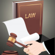 Gavel in hand and law book. — Stock Vector