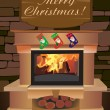Fireplace Christmas. — Stock Vector