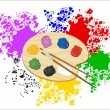 Wooden art palette with paints and brushes — Stock Vector