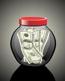 Many dollars in a glass jar — ストックベクタ