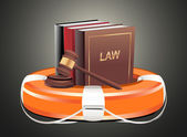 Legal aid. Gavel, book and lifebuoy — Stock Vector