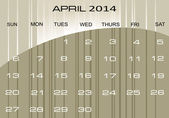 Calendar April 2014 — Stock Vector